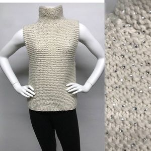FENDI CRYSTAL Rhinestone Knit Top Sweater 8 6 S M